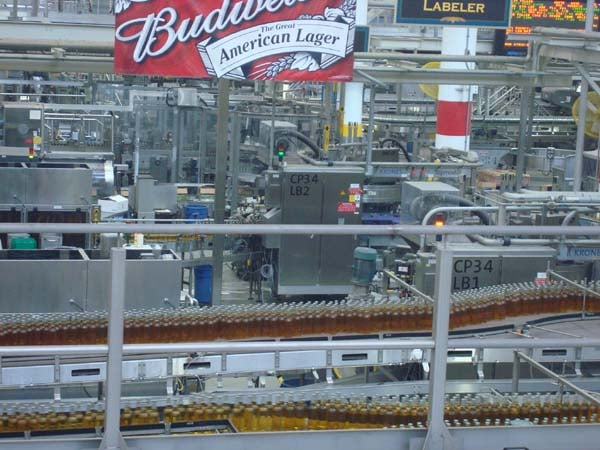 Budweiser brewery assembly line