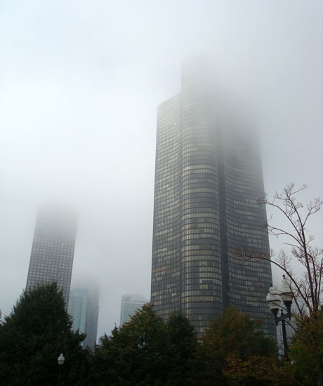 foggy building