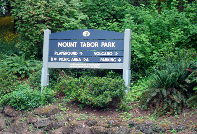 mount tabor portland oregon park sign