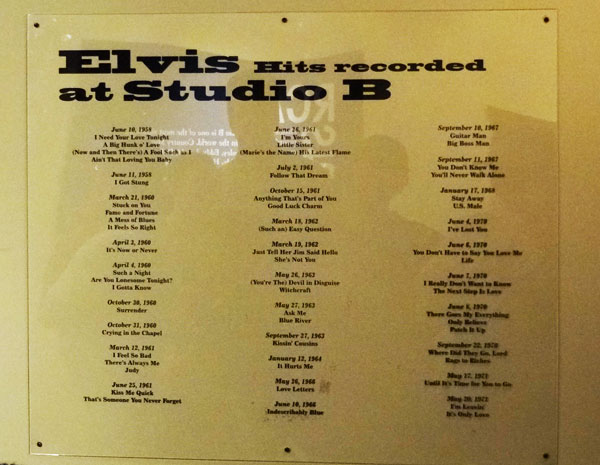 elvis hits studio b