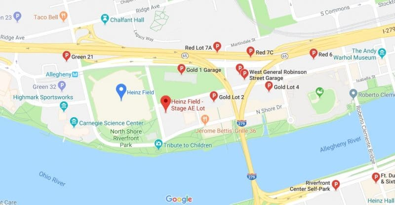 best place to park at a steelers game near heinz field map