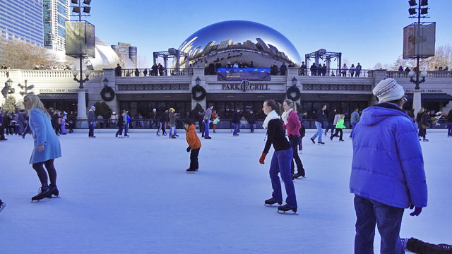 chicago ice skating bean