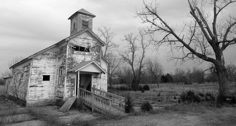 church abandoned bw