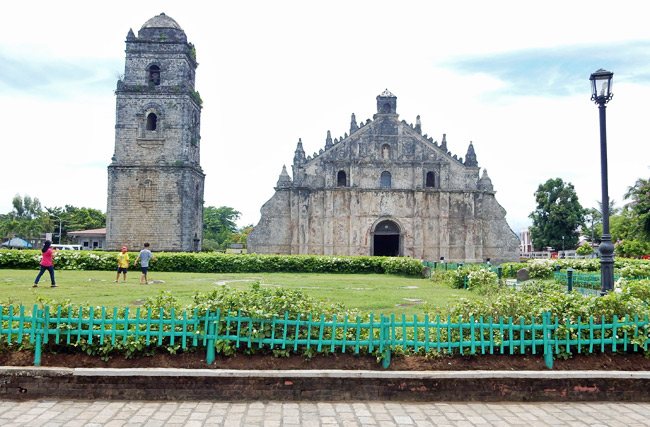 Inside the historic Paoay Church and ruins in the Philippines