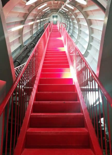 atomium inside red stairs