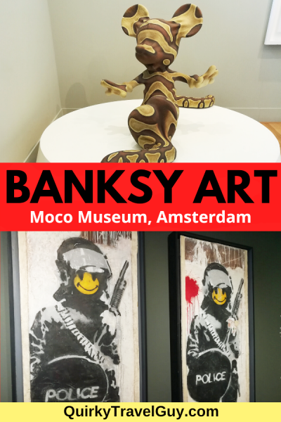 See Banksy's street art and sculptures on display at Amsterdam's funky Moco Museum. #mocomuseum #amsterdam #artmuseums #banksy #streetart