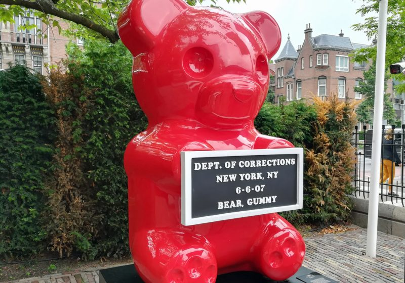 gummy bear arrested sculpture - moco museum garden